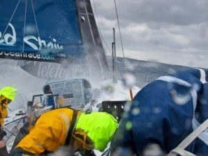 Telefonica Hit by Big Waves - Volvo Ocean Race 2011-12