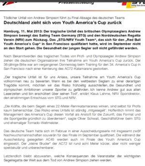 STG Pressemitteilung zum Rückzug vom Youth America's Cup
