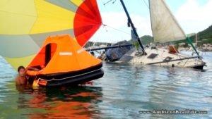 Sailboat Sinks in Simpson Lagoon, St Maarten, SXM CARIBBEAN