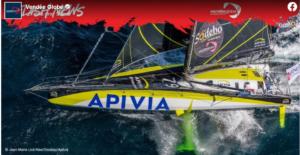 Vendee Globe 2020-12-14  -  Apivia  Backbord Foil beschädigt