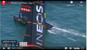 AC - Race 7 -  Ainslie gewinnt den Start - und fällt nach der 1. Wende zu stark ab