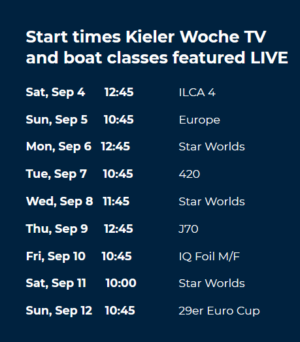 Kieler Woche TV    4 - 12 September 2021 On Air